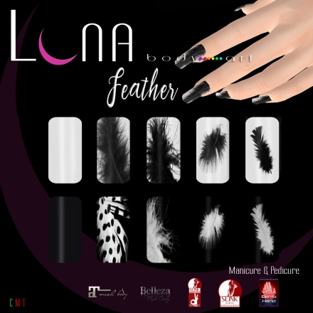 LUNA Body Art Feather Nails